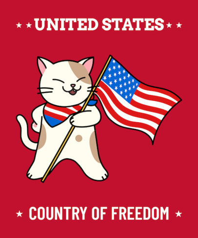 American T-Shirt Design Maker Featuring a Patriotic Cat Illustration 1406