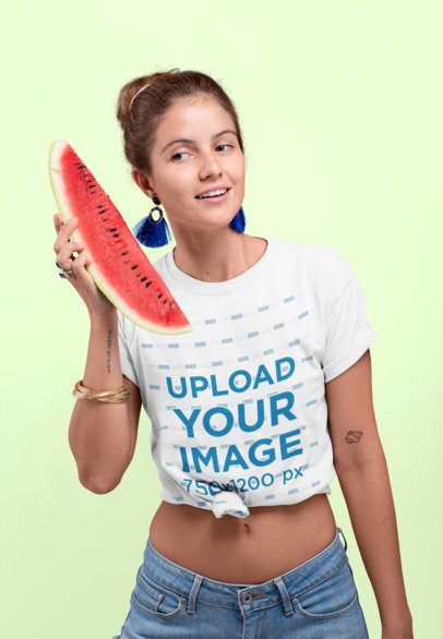 Knotted Tee Mockup Featuring a Woman Holding a Watermelon Slice 27096