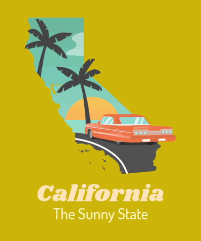 T-Shirt Design Template of Sunny California 1382d