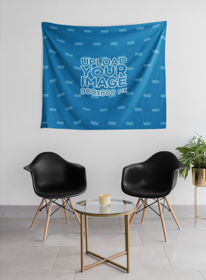 Tapestry Wall Mockup Hanging Against Two Minimalist Chairs 27378