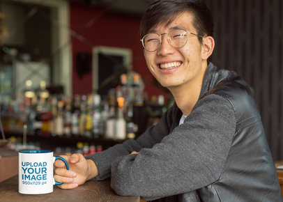 Mockup of a Smiling Man Drinking from an 11 oz Mug With Inner Rim Color