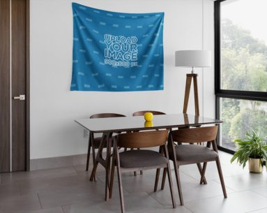Wall Tapestry Mockup Hanging in the Living Room 27381