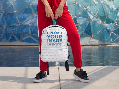 Backpack Mockup Featuring a Woman in Jogging Pants 27714