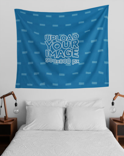 Wall Tapestry Mockup Hanging in a Bedroom Wall 27384a