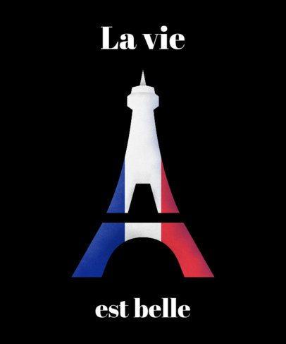 T-Shirt Design Template Featuring the Eiffel Tower Silhouette 1405d