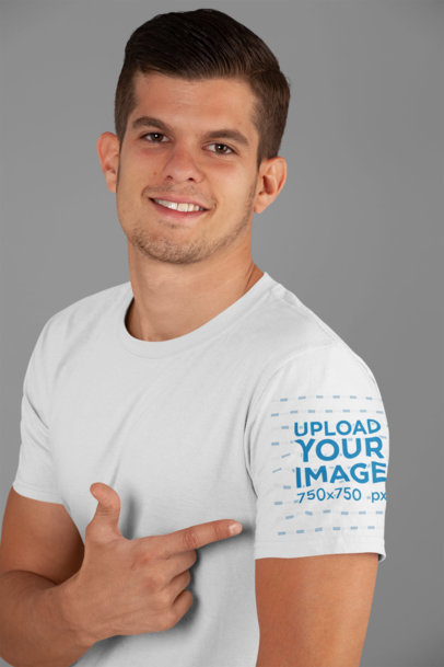 T-Shirt Sleeve Mockup of a Man in a Studio 27132