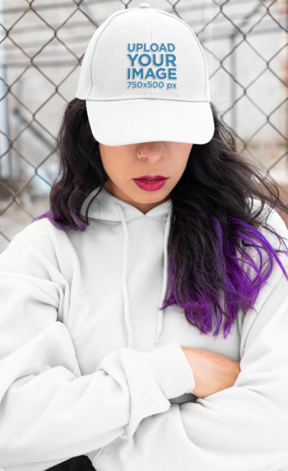 Dad Hat Mockup of an Alternative Woman With Purple Hair and a Hoodie 27105