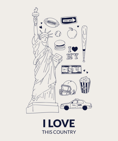 Patriotic T-Shirt Design Maker with Liberty Statue Clipart 1404