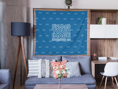 Mockup of a Wall Tapestry Hanged over Wooden Furniture Inside a Living Room