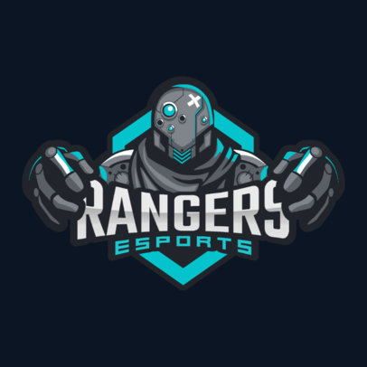 Logo Template for a Gaming Team with a Robot Holding the Text 2206a