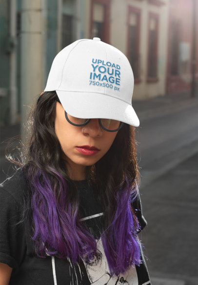 Dad Hat Mockup of an Edgy Woman With Purple Hair and a Nose Piercing 27110