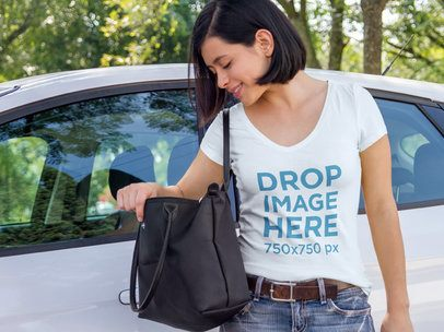 Young Woman Getting off her Car T-Shirt Mockup a7748