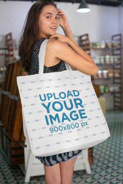 Grocery Bag Mockup Featuring a Woman Inside a Local Store