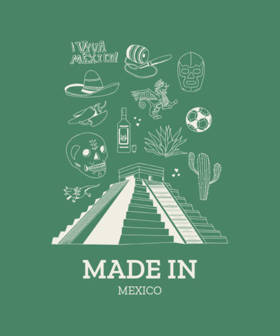 Mexican T-Shirt Design Template with a Mayan Pyramid Clipart 1404a
