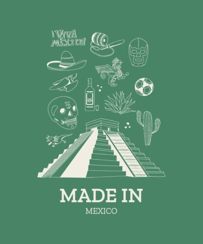 Mexican T-Shirt Design Template with Mayan Pyramid Clipart 1404a