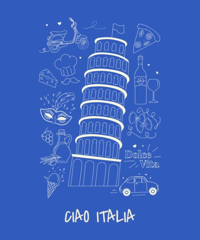Italian T-Shirt Design Maker Featuring  the Leaning Tower of Pisa 1404d