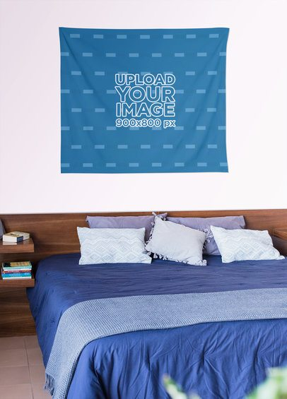 Mockup of a Tapestry Displayed over a Bedroom Wall 27397