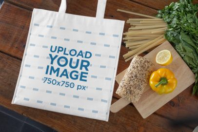 Grocery Bag Mockup Against a Wooden Table 27614