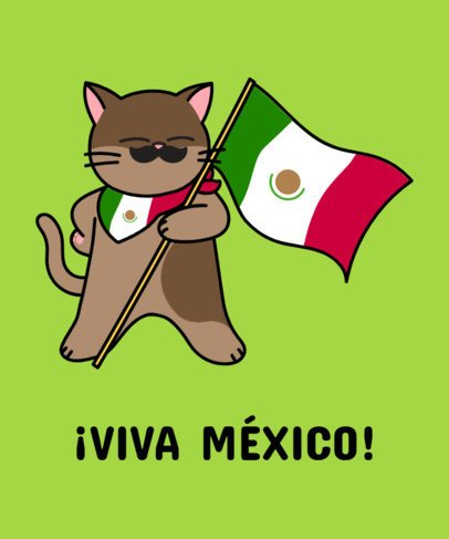 Mexican T-Shirt Design Maker Featuring a Cat with a Mustache 1406b