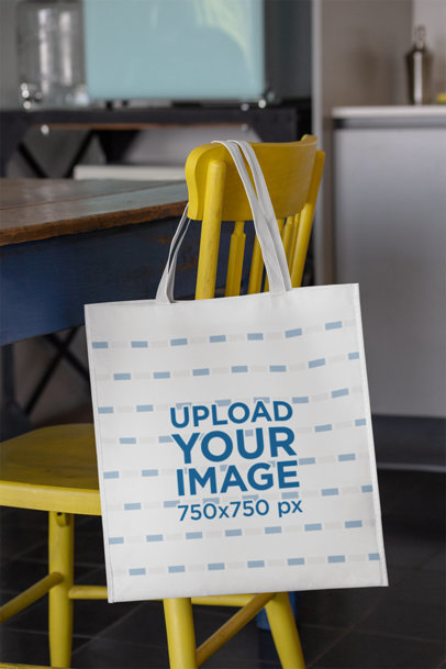 Grocery Bag Mockup Hanging From a Chair in a Kitchen 27616
