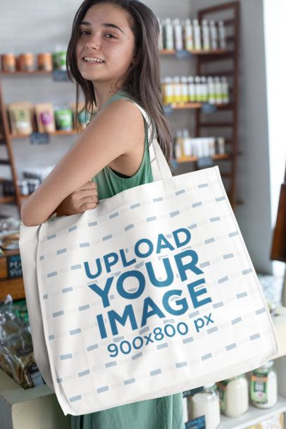 Grocery Bag Mockup of a Woman in a Supermarket27617