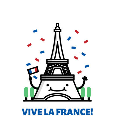 Beautiful Patriotic T-Shirt Design Featuring French Clipart
