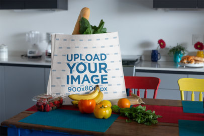 Mockup of a Grocery Bag on a Kitchen's Table 27611