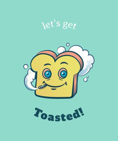 Weed T-Shirt Design Maker with a Toasted Bread Cartoon 1411d