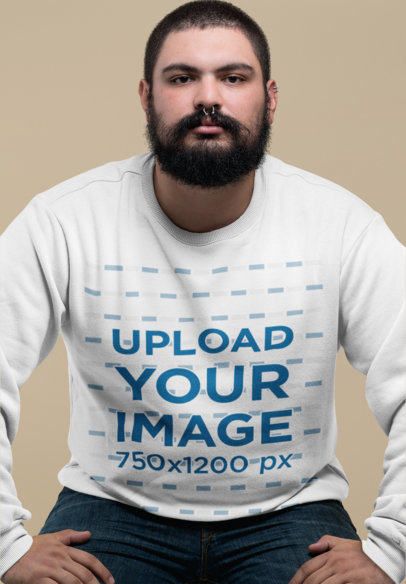 Plus Size Crewneck Sweatshirt Mockup of a Tough-Looking Man 27764