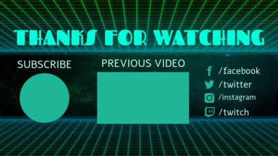 Retro YouTube End Screen Template with Neon Grid Graphics 1257a