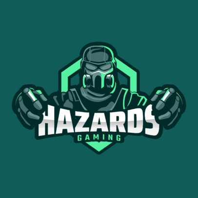 Gaming Logo Template Featuring a Character with a Hazard Mask 2206e