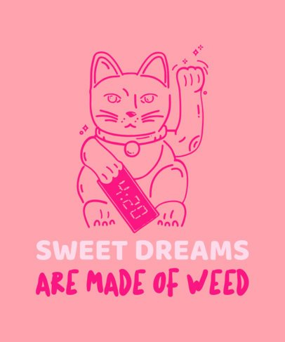 Cannabis T-Shirt Design Template with a Lucky Cat Illustration 1424b