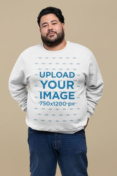 Mockup of a Bearded Man Wearing a Plus Size Sweatshirt at a Studio 27778
