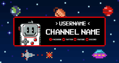 Twitch Banner Maker with 8-Bit Characters and Pixel Art Background 1453