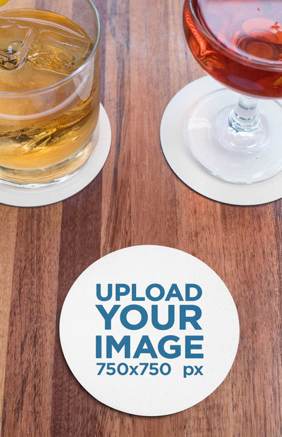 Round Coaster Mockup Featuring Two Cocktails on a Wooden Table 27788