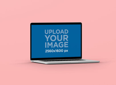 Minimal MacBook Pro Mockup with a Single Color Background 61-el
