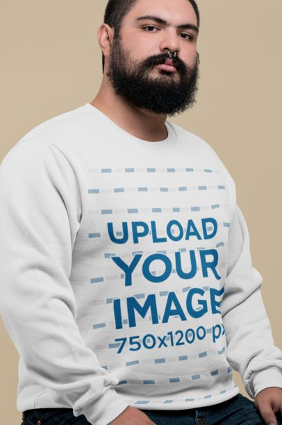 Plus Size Sweatshirt Mockup of a Serious-Looking Man with a Nose Piercing 27763