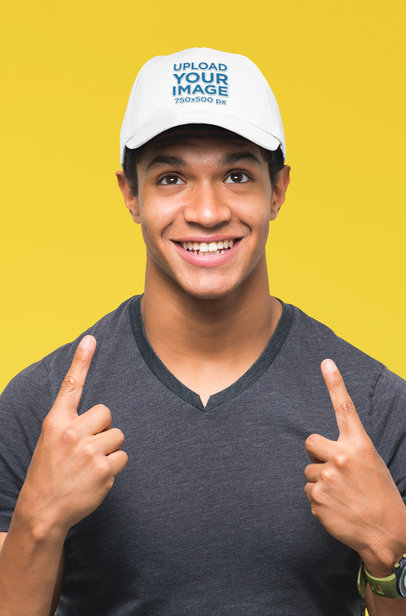Mockup of a Young Man Proudly Showing His Dad Hat 27047