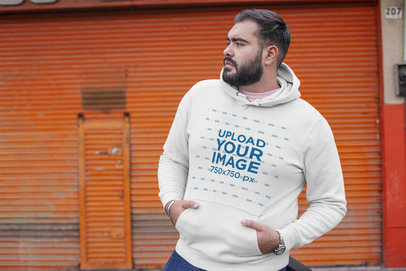 Plus Size Hoodie Mockup of a Dark-Haired Bearded Man 27741