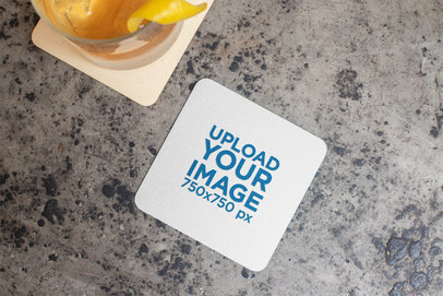 Squared Coaster Mockup Next to a Cocktail over a Concrete Surface 27794