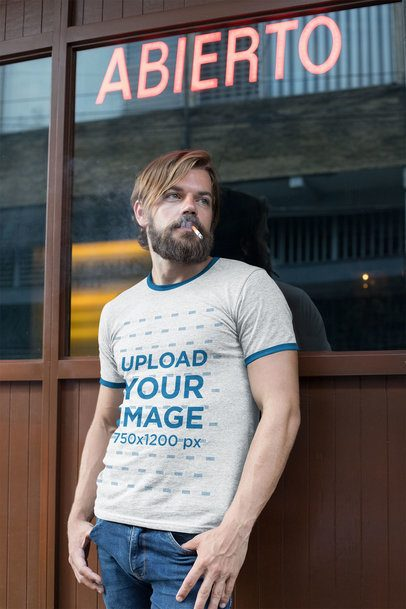 Heather Ringer Tee Mockup of a Cool Man Smoking Outside a Restaurant 27927