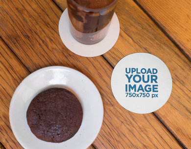 Round Coaster Mockup Featuring a Brownie and a Drink 27804