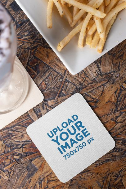 Square Coaster Mockup Featuring a Milkshake and French Fries 27803