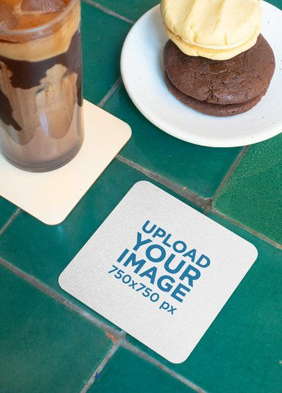 Mockup of a Squared Coaster with Round Corners Next to Some Cookies 27808