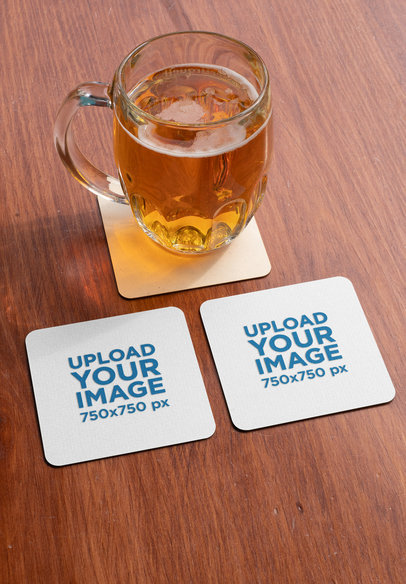 Mockup of Two Squared Coasters by a Jar of Beer 27813