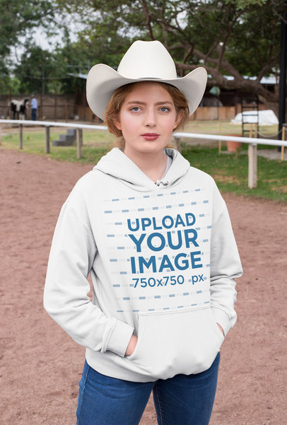 Mockup of a Ranch Woman Wearing a Pullover Hoodie 27957