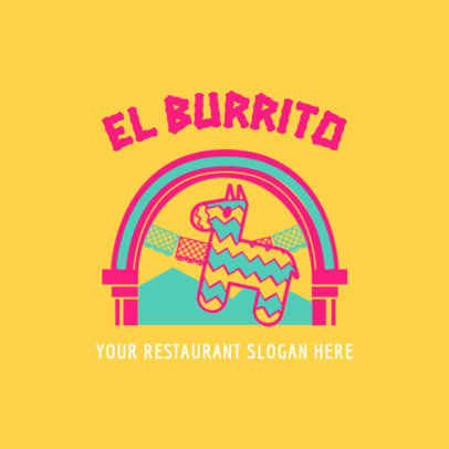 Mexican Restaurant Logo Maker with Donkey Pinata Graphic 1237b