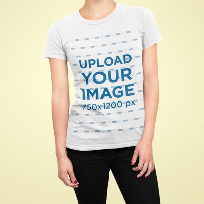 Closeup T-Shirt Mockup of a Female Model Against a Plain Background 86-el