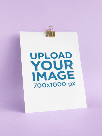 Mockup of an A4 Letterhead with a Binder Clip Against a Plain Background 27226