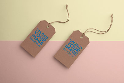 Mockup of Two Brand Tags with a Two-Colored Background 27643